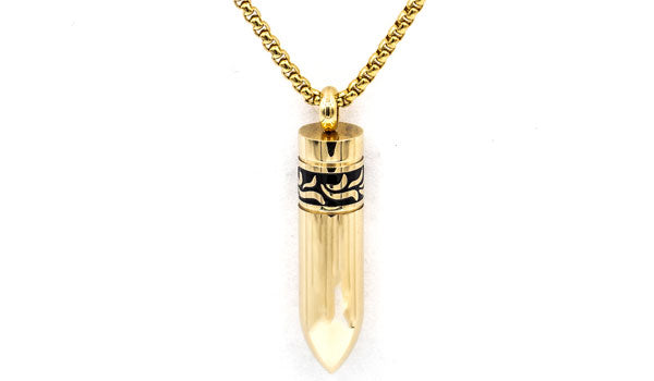 Alt= Men's Gold Detachable Bullet Necklace.