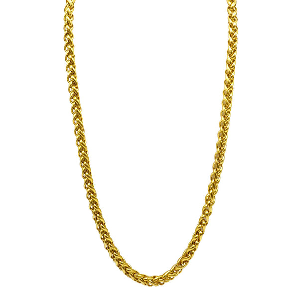Gold 316L High- Grade stainless steel Men's Jewelry accessory chain twenty four inches in length with a lobster claw clasp handmade not plated but dyed and heat treated so it's tarnish free