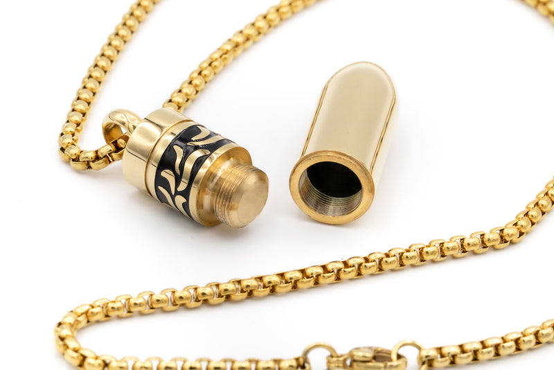 Alt= Gold Bullet Necklace open.
