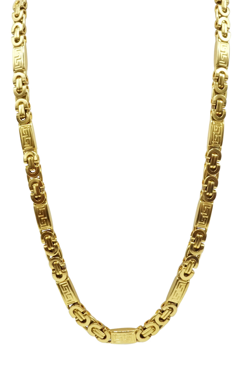 Gold Stainless Steel mix link design chain 24 inch length with a lobster claw clasp