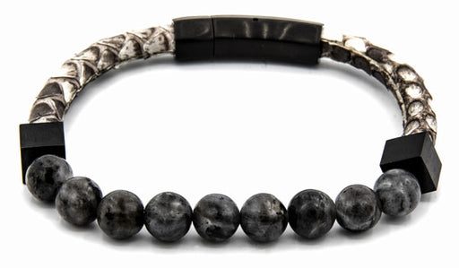 Snake skin and Grey Agate Men's Bracelet