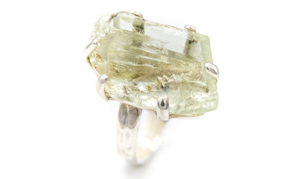 Hiddenite Natural Gemstone Sterling Silver Adjustable Ring