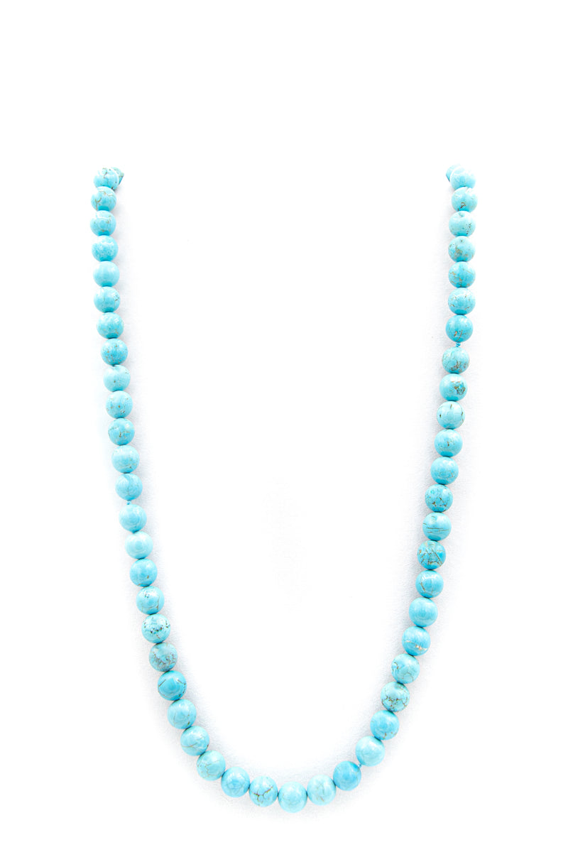 "<img src=""IMG_9956.JPG"" alt="" Turquoise Howlite 8mm, 10mm 30 Inch Natural Stone Necklace"">"