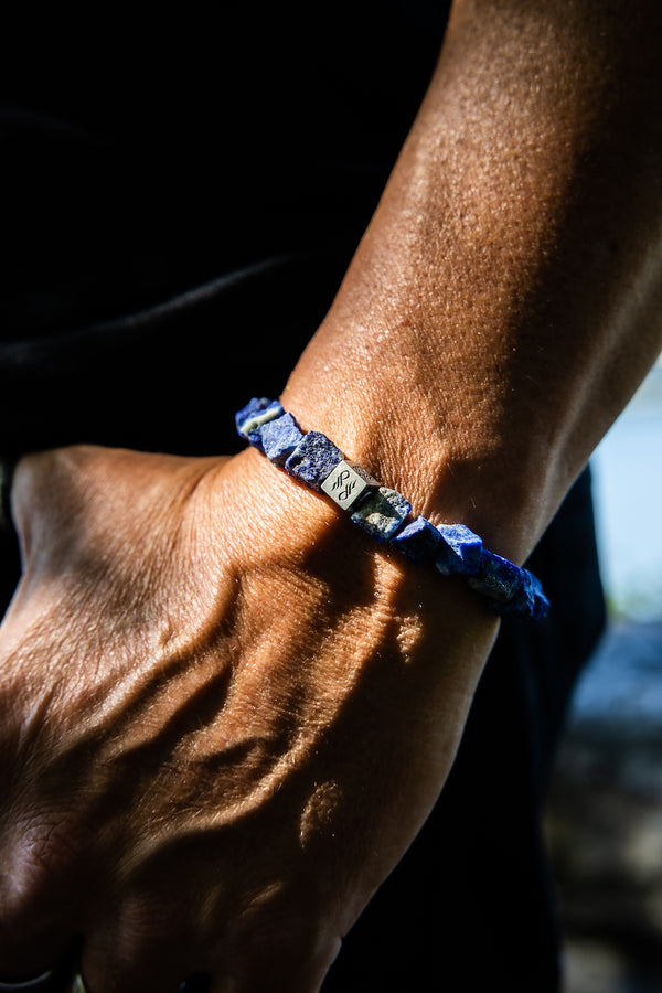 Man wearing Raw Lapis Lazuli Gemstone Bracelet