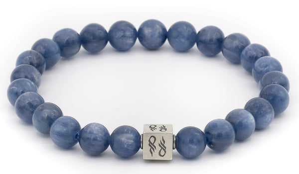 Alt= Kyanite Natural Gemstone 925 Cube Men's bracelet.