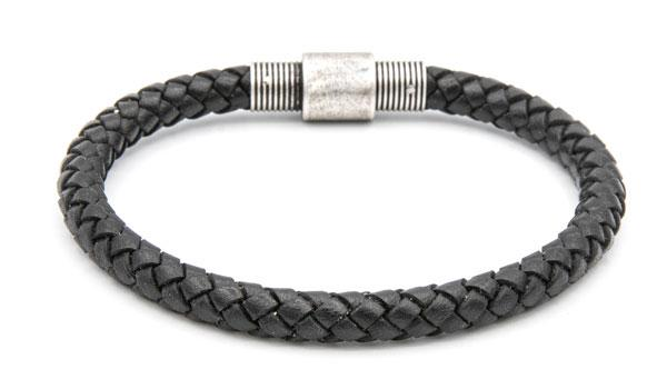 Black leather pipe bracelet