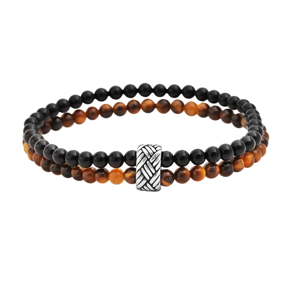 """Black Onyx & Tiger's Eye "" = Dual Layered Stone Bracelet"