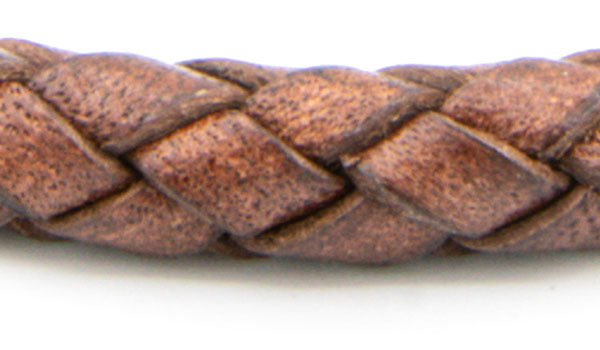 Mahogany Leather braided cuff close up