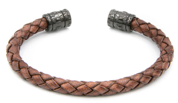 Mahogany Leather braided cuff