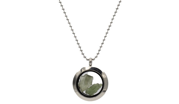 Sterling Silver Moldavite Lockett Necklace.