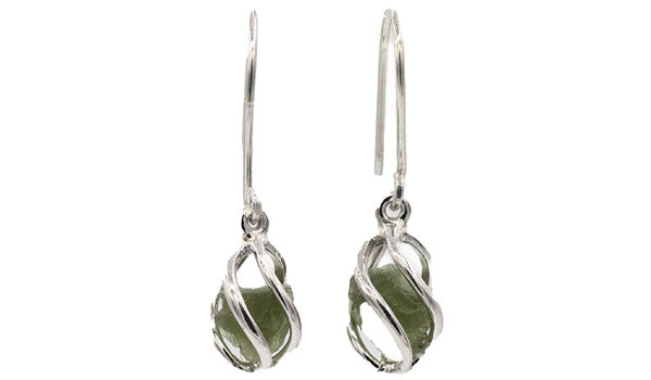 Sterling Silver Moldavite Cage Earrings