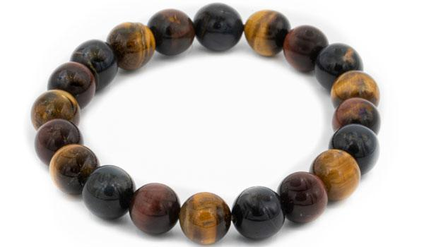 Multi color tigers eye natural stone bracelet