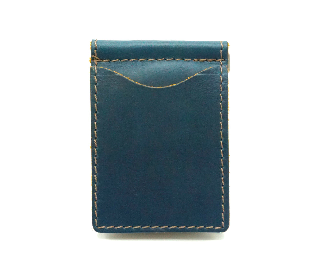 Ocean Top Grain Leather Money Clip Handcrafted in Chelsea NY