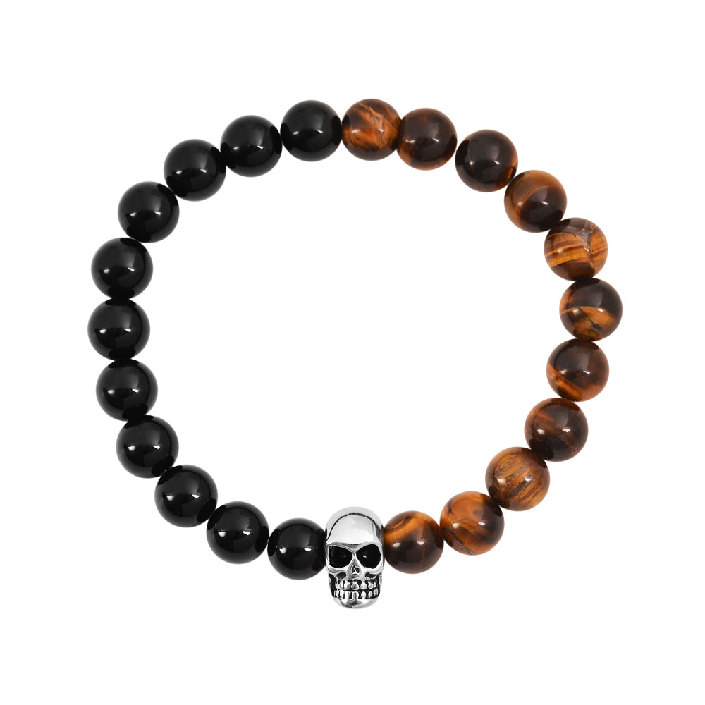 Black Onyx Gloss finish with Brown Tiger Eye natural Stone Bracelet with silver stainless steel skull pendant at the center 8mm stone size 7.5 inch standard wrist circumference by playhardlookdope