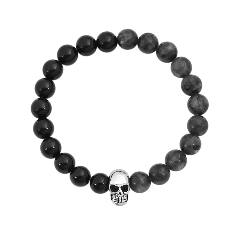 Black Onyx Labradorite Natural Stone Bracelet with Silver Stainless Steel Skull head pendant 8mm size stones 7.5 inch standard wrist circumference