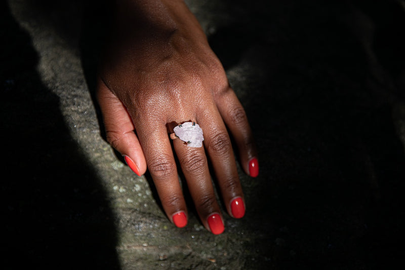 Alt= Model wearing Kunzite Gemstone Sterling Silver adjustable ring.