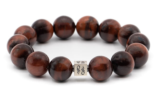 Alt= Red tigers eye sterling silver cub bracelet
