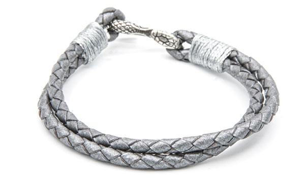 Metallic cobra leather bracelet