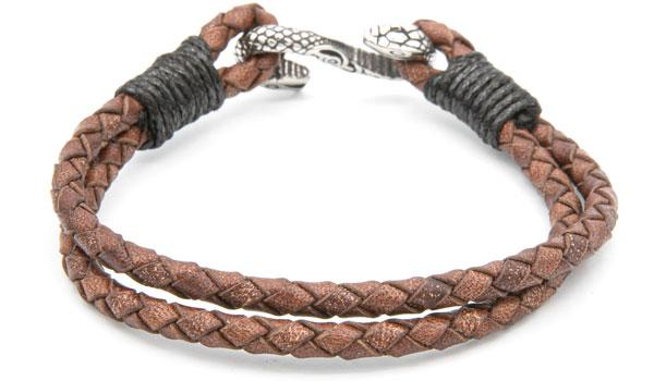 Brown leather cobra bracelet