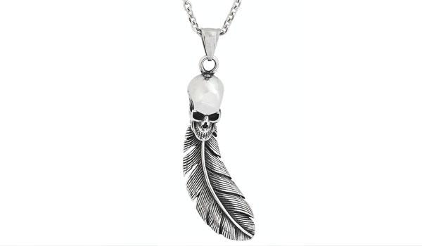 Silver Skull Leaf Pendant Necklace