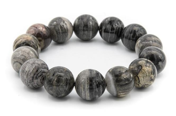 16mm Silver Leaf Jasper Natural Stone Bracelet