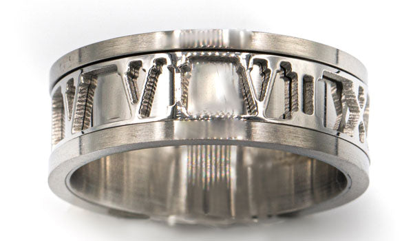 silver Roman numeral ring close up