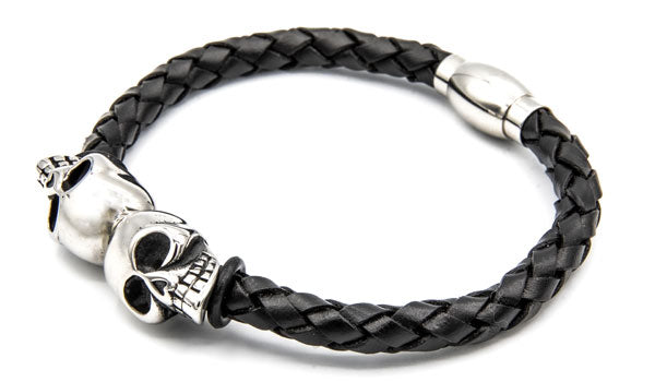 Double Skull Leather Bracelet