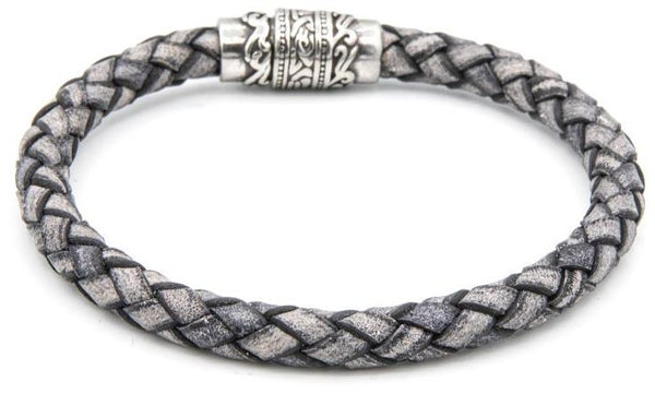 Charcoal colored leather magnetic bracelet