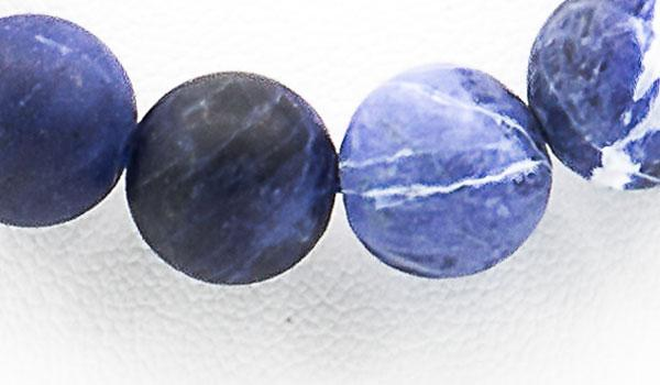 Sodalite matte natural stone necklace close up