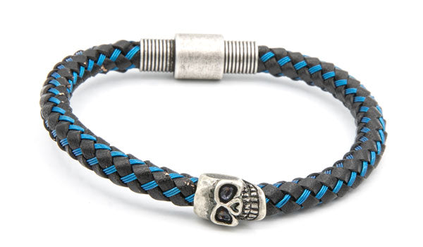 Blue cable wire skull bracelet