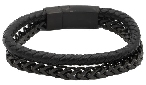 Black Leather and Black Stainless Steel Men's Bracelet.