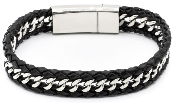 Braided leather bracelet with curb chain in the middle.