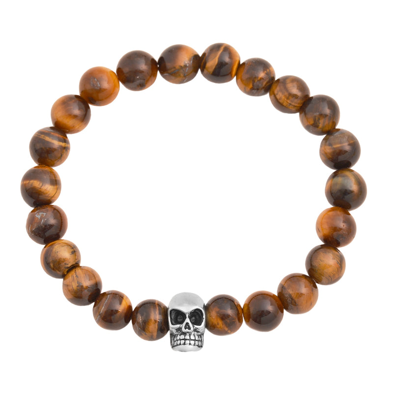Tiger Eye Gloss Finish Natural Stone Bracelet with silver stainless steel skull head pendant at the center 8mm stone size 7.5 inch standard wrist circumference