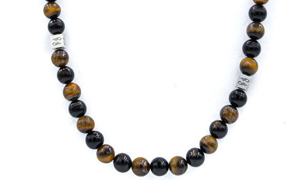 Tigers Eye and Onyx Natural Gemstone Necklce