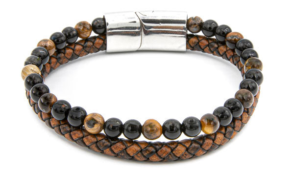 Brown Tigers Eye Natural Stone Leather Stack Bracelet feature img