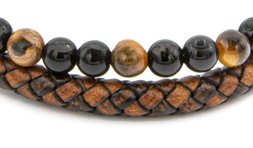 Brown Tigers Eye Natural Stone Leather Stack Bracelet close up img