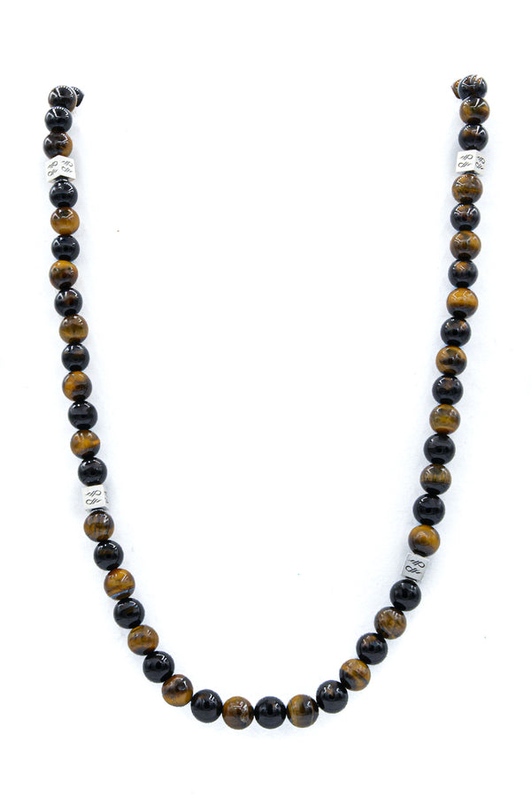 Tigers Eye and Onyx Natural Gemstone Necklace with Cube full length