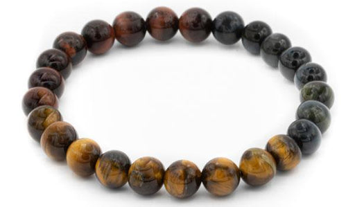 Tri color tigers eye natural stone bracelet