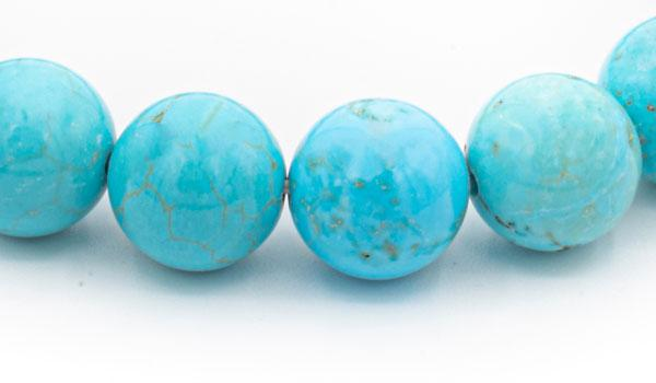 Turquoise howlite natural stone bracelet close up