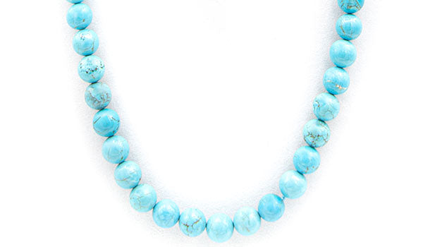 Turquoise howlite natural stone necklace
