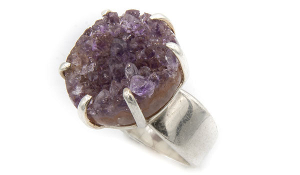 Sterling Silver Amethyst Adjustable Ring feature img