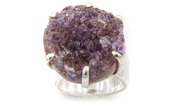 Sterling Silver Amethyst Adjustable Ring second img