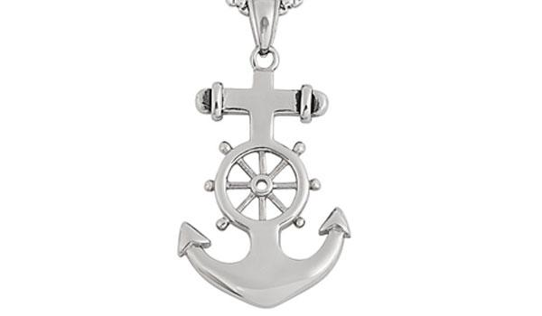 Silver Anchor Wheel Pendant Necklace feature img close up