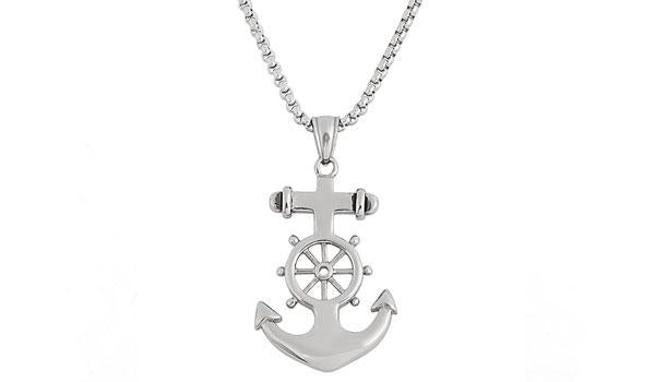 Silver Anchor Wheel Pendant Necklace feature img
