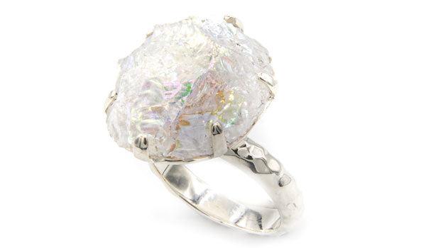 Sterling Silver Aurora Quartz Adjustable Ring