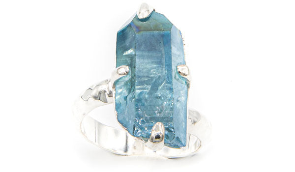 Sterling Silver Aqua Aura Crystal Adjustable Ring second img
