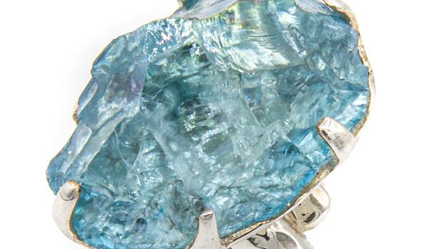 Sterling Silver Aqua Aura Crystal Adjustable Ring circle close up img