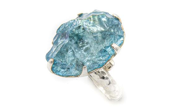Sterling Silver Aqua Aura Crystal Adjustable Ring circle feature img