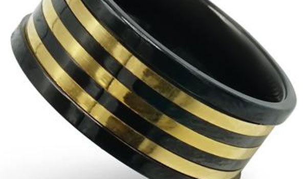 gold and black spinner ring close up img