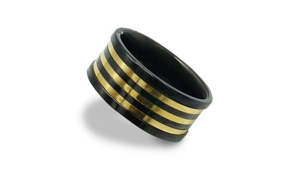 Black and Gold Stainless Steel Spinner Ring